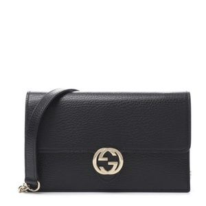 GUCCI INTERLOCKING GG BLACK LEATHER WALLET ON CHAI